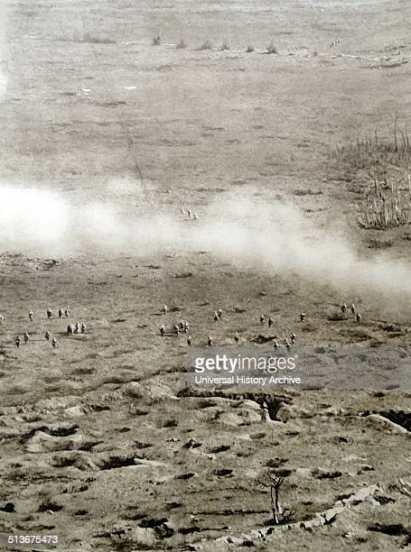 Gas attack on soldiers in a battlefield in France during World War one 1915