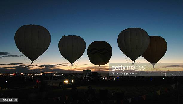Gas balloons and their pilots queue for their departure in the distance competitions on October 1 2005 in Albuquerque New Mexico The 2005 Albuquerque...