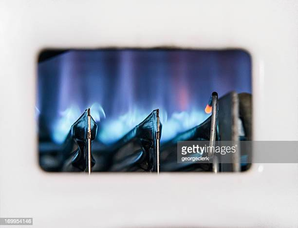 Gas Boiler Flame Close-up