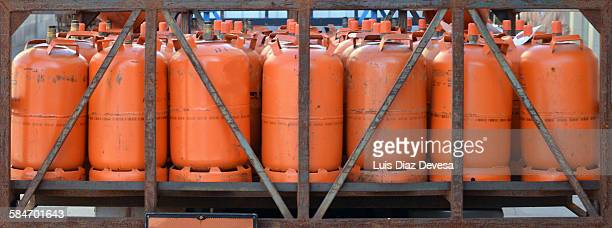 gas bottles on back of a pickup truck - flammable stock photos and pictures