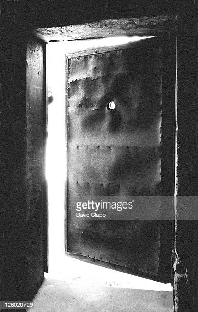 gas chamber door from the inside, birkenau concentration camp, auschwitz, poland - auschwitz stock pictures, royalty-free photos & images