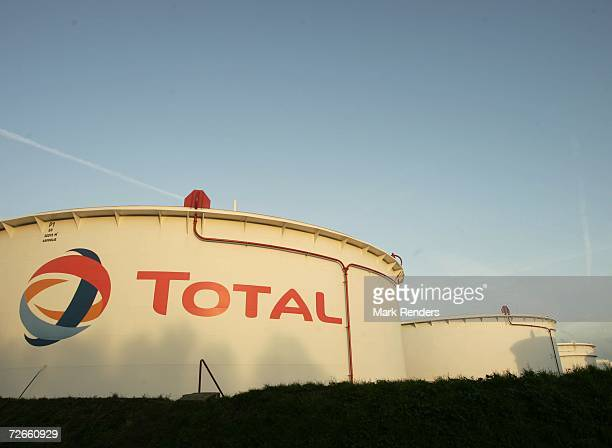 Gas containers featuring the Total corporate logo at the Total Refinery on November 23 2006 in Antwerp Belgium Total Refinery Antwerp the second...