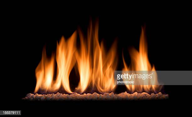 gas fire flames isolated on black - flame stock pictures, royalty-free photos & images