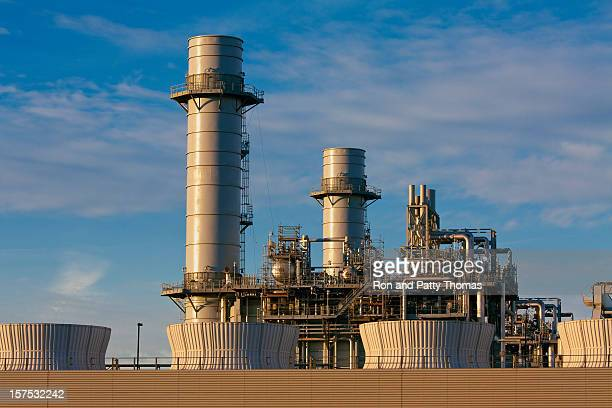 A gas fired turbine power plant with huge chimneys
