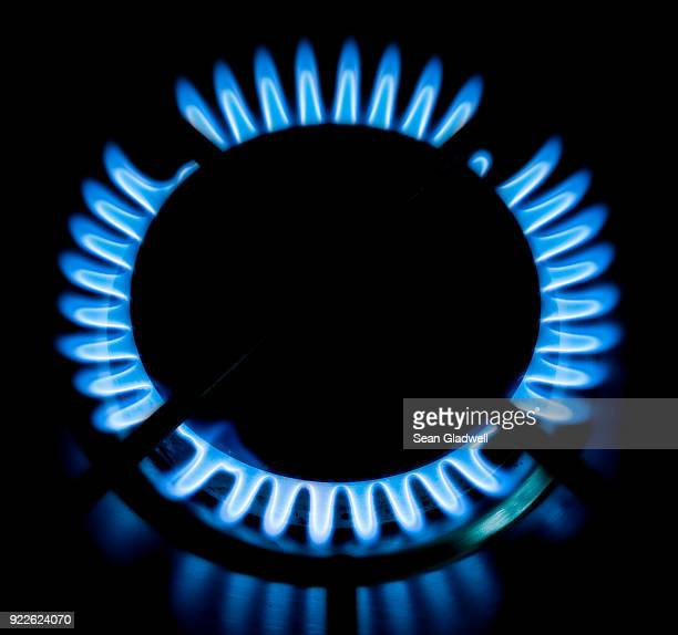 Gas flame on the hob