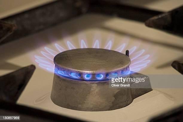 Gas flames, stove
