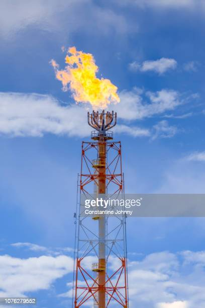 gas flare from a petroleum refinery against blue sky - flare stack stock photos and pictures