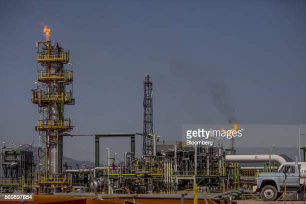 Gas flares stand at the Petroleos Mexicanos Miguel Hidalgo Refinery in Tula Hidalgo Mexico on Friday Nov 3 2017 Pemex announced its biggest onshore...