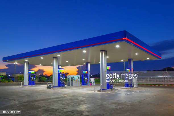 Gas fuel station with sunrise sky