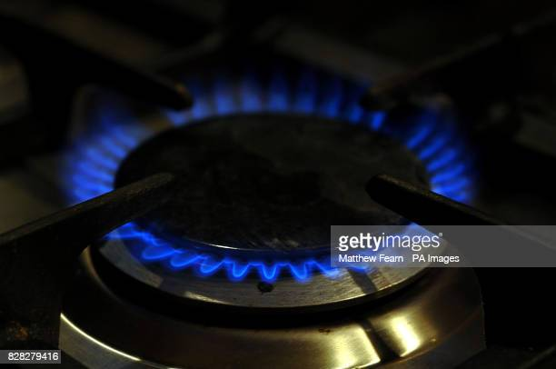 A gas hob burns as British government ministers continue to monitor the fallout from a gas dispute between Russia and Ukraine Monday 2 January amid...