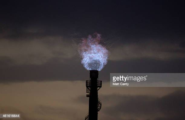 Gas is burnt off at the Tata owned steel works on January 15 2015 in Port Talbot Wales Along with health and education manufacturing and the economy...
