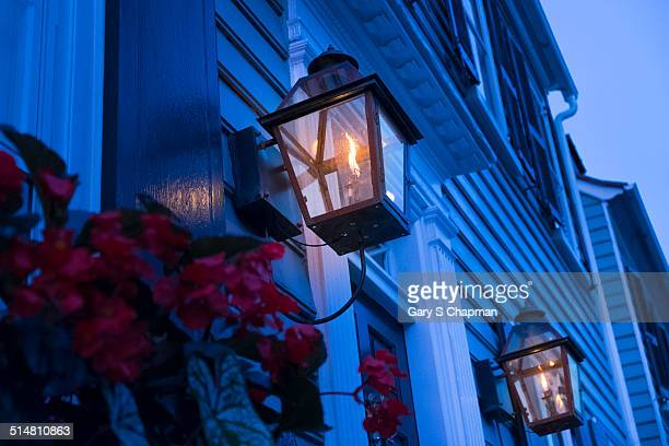 Gas lamp on old home in Charleston, SC