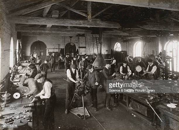 Gas lights being made at Doncaster works. Carriages were usually lit with gas. However, electric lighting was becoming more common as gas lighting...