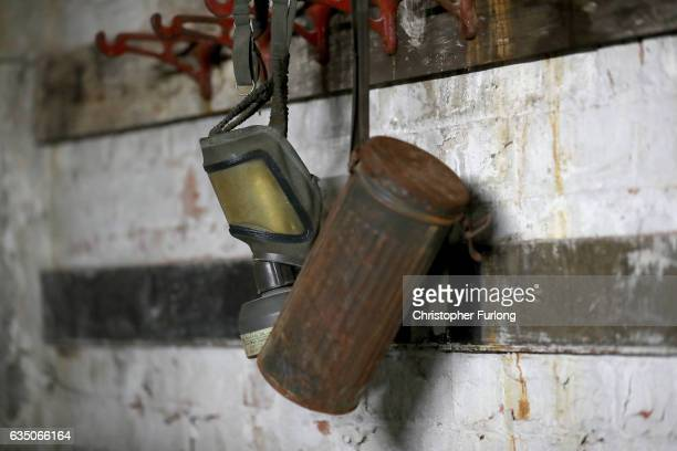 A gas mask and container sit untouched in the hidden fire station of a Black Country factory on February 13 2017 in Dudley England A fire station...