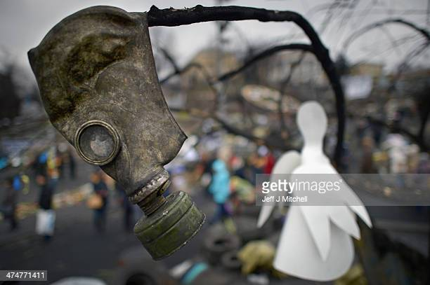 A gas mask hangs in a tree along with a paper angel in Independence Square where dozens of protestors were killed in clashes with riot police last...