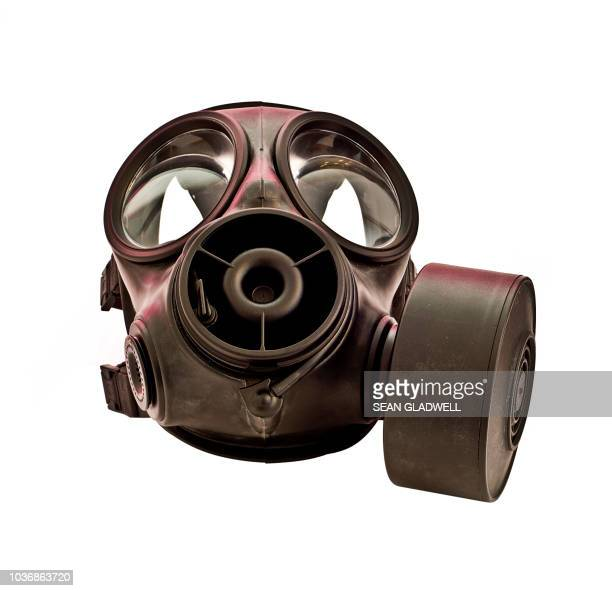 gas mask on white background - gas mask stock pictures, royalty-free photos & images