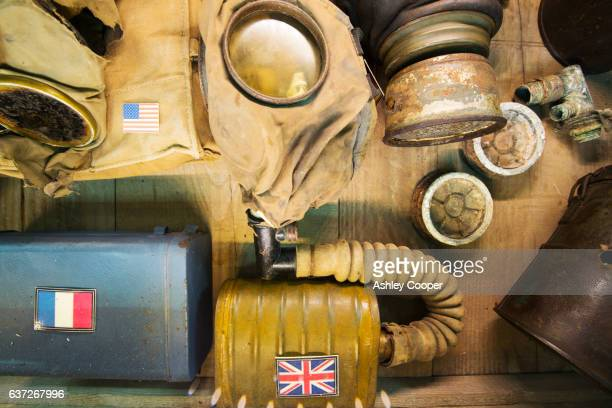 Gas masks at the underground Battle of the Somme museum in Albert, which is in the ancient tunnels that were by the townsfolk to shelter during the war, France.