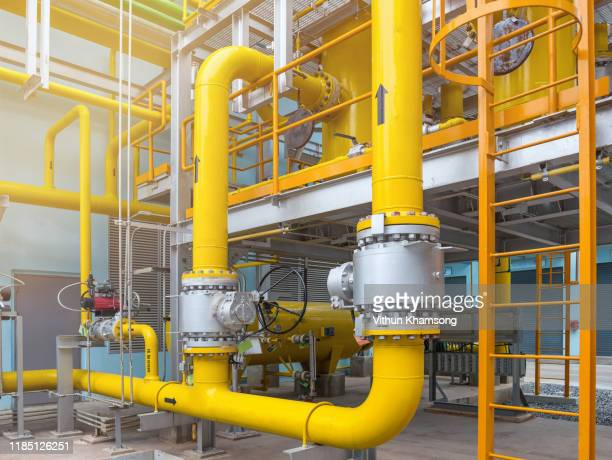 gas metering station and pipeline at power plant of industrial zone - steel stock pictures, royalty-free photos & images