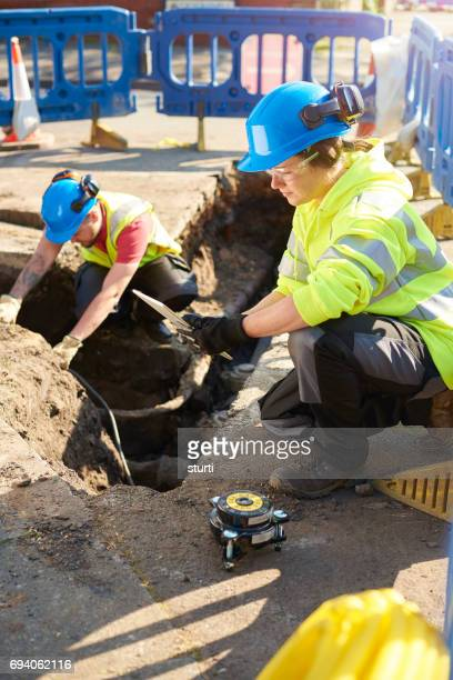 gas pipeline diagnostics - trench stock pictures, royalty-free photos & images