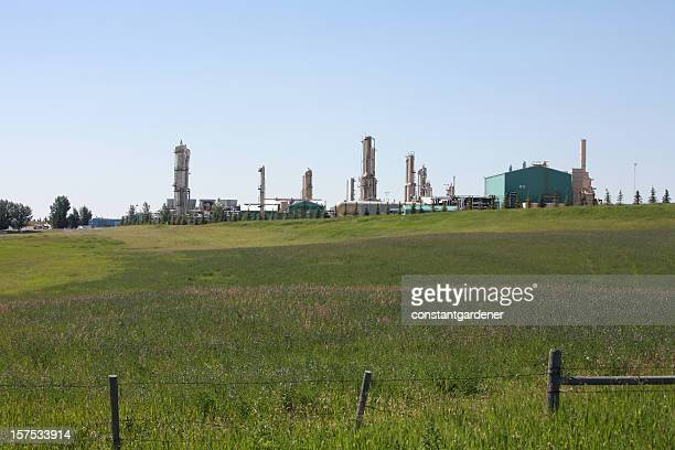 Gas Plant And Farmland Working Together  In Harmony