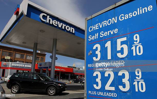 Gas prices are displayed at a Chevron gas station March 9 2010 in San Francisco California Chevron Corp announced that it would cut 2000 jobs this...