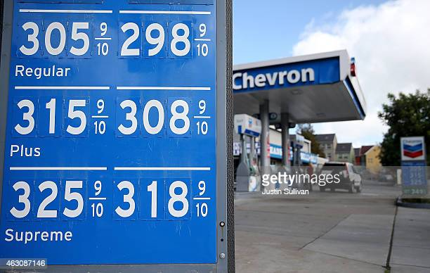 Gas prices are displayed at a Chevron gas station on February 9 2015 in San Rafael California After weeks of decline in price gas prices have...