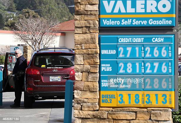 Gas prices are displayed at a Valero gas station on February 9, 2015 in San Rafael, California. After weeks of decline in price, gas prices have...