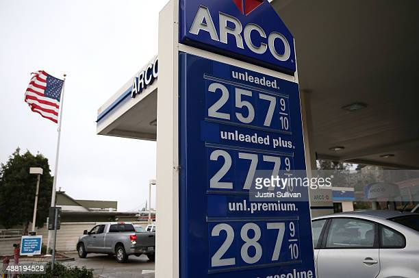Gas prices below $300 a gallon are displayed at an Arco gas station on September 14 2015 in Mill Valley California The average price of a gallon of...