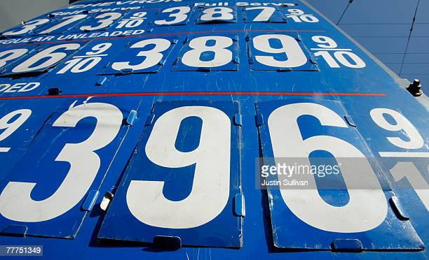 Gas prices nearing $400 per gallon are seen on display at a Chevron service station November 6 2007 in San Francisco California The national average...