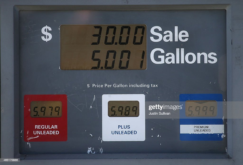 Gas prices nearing $6.00 per gallon are displayed on a pump at Bridgeway Gas on March 3, 2015 in Sausalito, California. U.S. gas prices have surged an average of 39 cents in the past 35 days as a result of the price of crude oil prices increases, scheduled seasonal refinery maintenance beginning and a labor dispute at a Tesoro refinery. It is predicted that the price of gas will continue to rise through March.