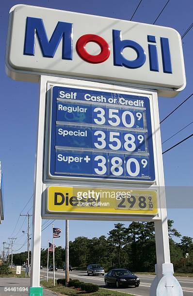 Gas prices nearing the 4 dollar mark are listed at a Mobil service station September 3 2005 in Bourne Massachusetts Pump prices continued to surge...