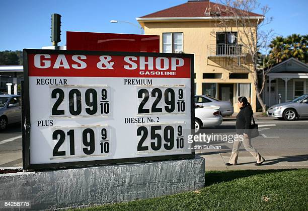 Gas prices over $2.00 per gallon are displayed at the Gas & Shop gas station January 12, 2009 in San Rafael, California. The national average price...