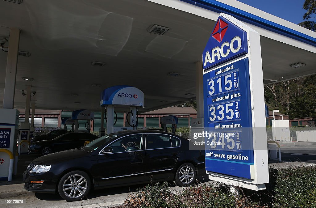 Gas prices over $3.00 are displayed at an Arco gas station on March 3, 2015 in Mill Valley, California. U.S. gas prices have surged an average of 39 cents in the past 35 days as a result of the price of crude oil prices increases, scheduled seasonal refinery maintenance beginning and a labor dispute at a Tesoro refinery. It is predicted that the price of gas will continue to rise through March.