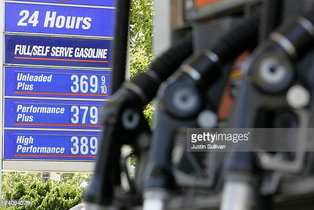 Gas prices over $350 per gallon are seen at a service station May 7 2007 in San Francisco California Gas prices reached a record national average...