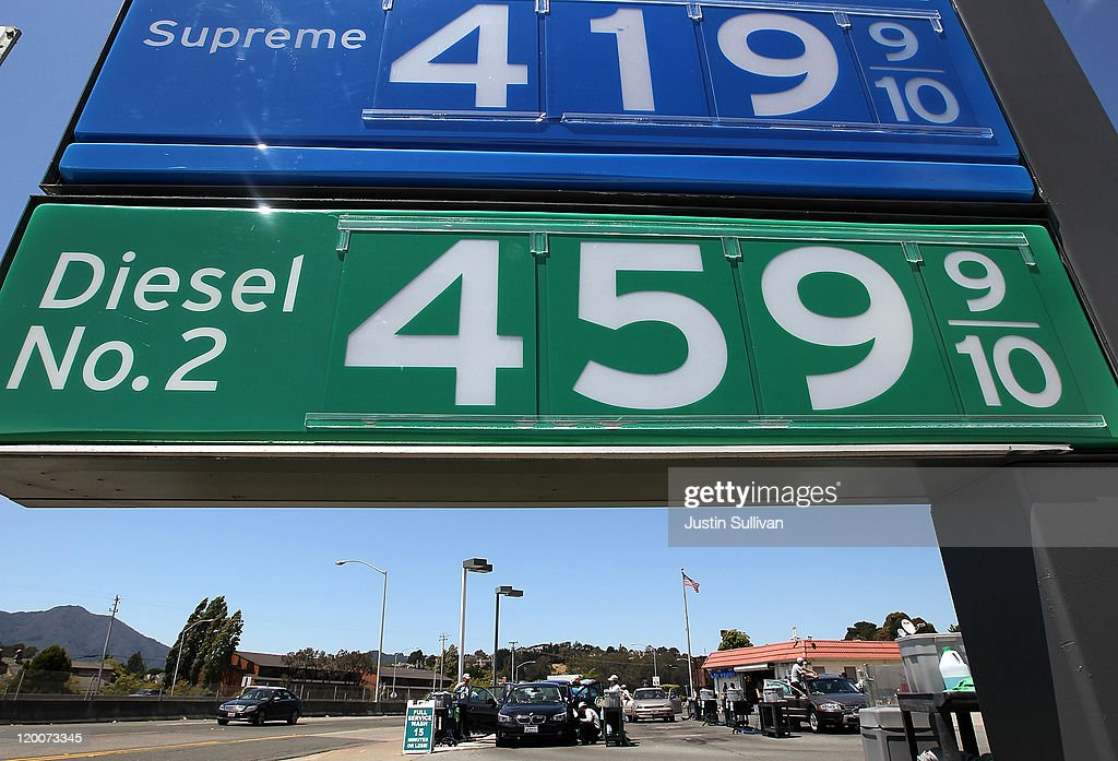 Gas prices over $4 per gallon are displayed at a Chevron gas station on July 29, 2011 in Mill Valley, California. The U.S. Commerce Department reported today that the U.S. economy slowed in the second quarter with the GDP coming in at 1.3 percent, far lower than expected.