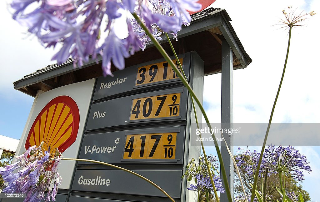Gas prices over $4 per gallon are displayed at a Shell gas station on July 29, 2011 in Sausalito, California. The U.S. Commerce Department reported today that the U.S. economy slowed in the second quarter with the GDP coming in at 1.3 percent, far lower than expected.