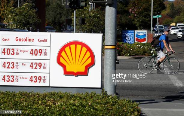 Gas prices over $4.00 per gallon are displayed at a Chevron and Shell gas stations on October 23, 2019 in Greenbrae, California. California Gov....