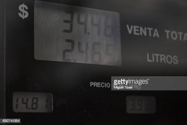 Gas prices per liter are displayed at a gas station in Copilco avenue on December 31 2016 in Mexico City Mexico Officials say it's time for Mexicans...