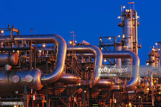 Gas processing refinery, exterior, low angle view