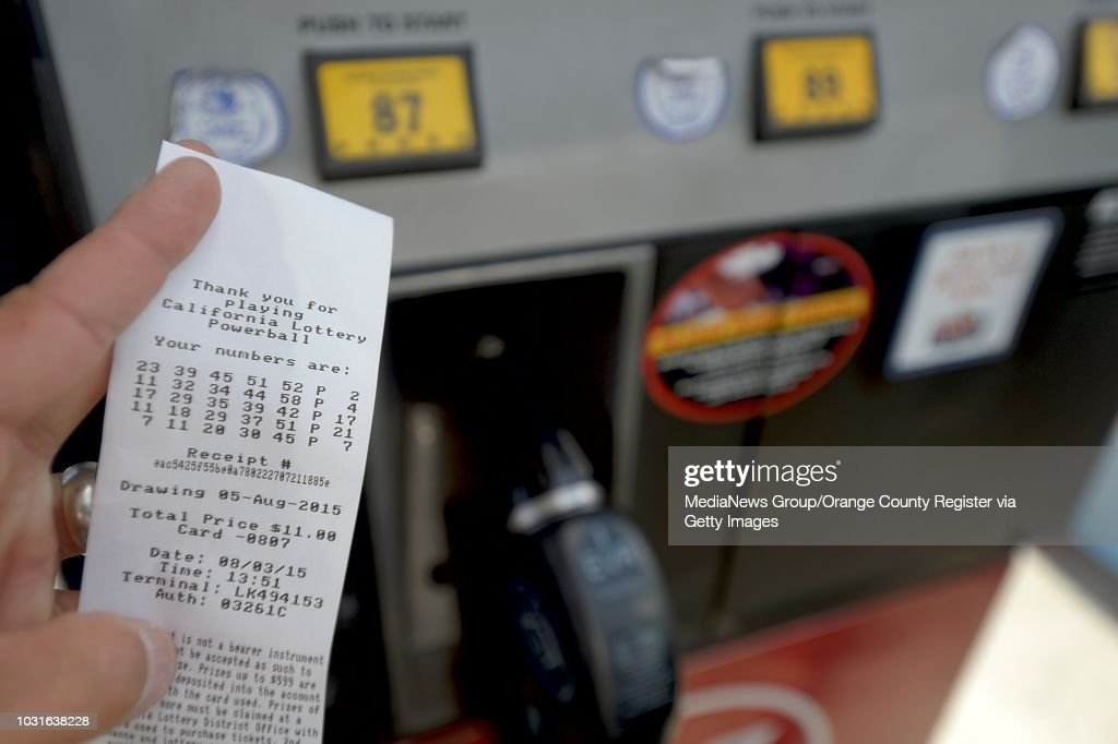 A gas pump receipt shows lotto numbers purchased at the pump