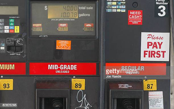 A gas pump shows the cost of fuel September 15 2008 in Miami Florida Gasoline prices rose nearly 5 cents a gallon Monday bringing the total increase...