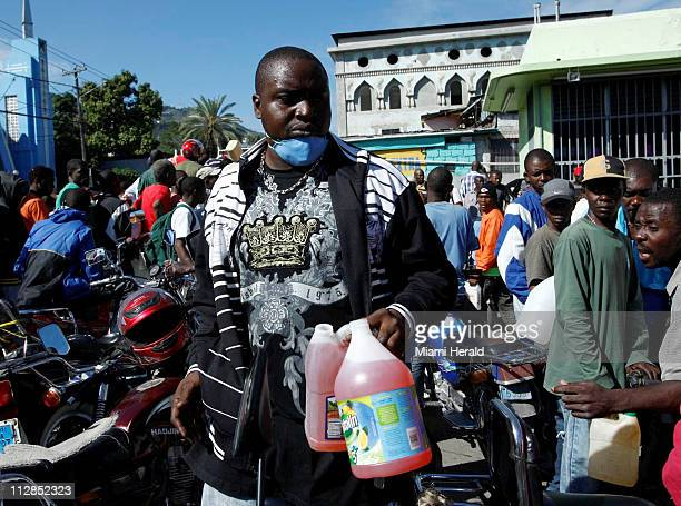 A gas shortage caused long lines and angry customers on Thursday January 14 after Tuesday=s earthquake in PortauPrince Haiti