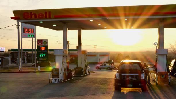 Atlanta, Georgia, USA - Dec 26, 2018:  Gas station at Sunset