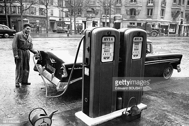 Gas station attendant in Paris France