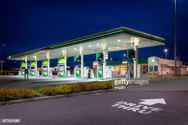 BP gas station by night
