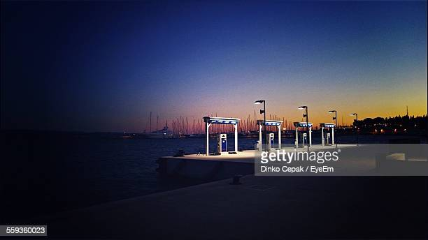 Gas Station By Sea At Dusk