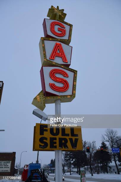 Gas station neon sign at Grand Forks, North Dakota, USA