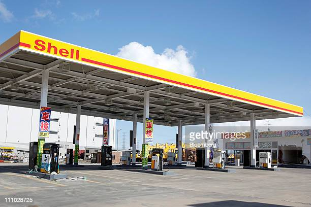 A gas station of Showa Shell Sekiyu KK the Japanese unit of Royal Dutch Shell Plc stands closed from the damaged by the March 11 earthquake and...