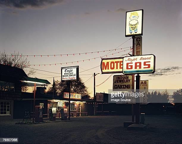 gas station - motel stock photos and pictures
