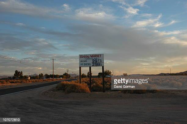 A Gas Station sign in Hinkley a small unincorporated community in the Mojave desert California